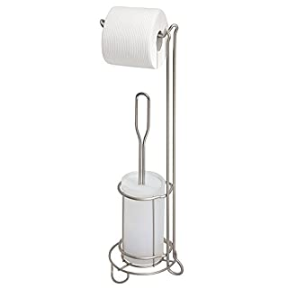 mdesign toilettenpapierhalter mit toilettenbrste ohne bohren freistehender klorollenstnder mit integrierter klobrste 2 in - Moderner Freistehender Toilettenpapierhalter