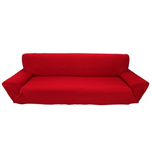 Fundas de sofá de 4 plazas 7 Colores sólidos Funda de Estiramiento Completo Tela elástica Soft Couch Cover Sofa Protector Muebles de casa (Color : Borgoña)