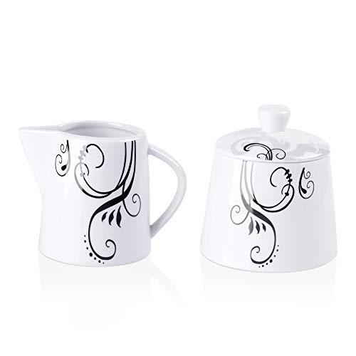 VEWEET,Serie 'Zoey' 2-teilig Porzellan Milch- und Zuckerset, 180 ml Milchkännchen und 250 ml Zuckerdose mit Deckel, Milch- und Zuckerset | Ergänzung zum Tafelservice 'Zoey'