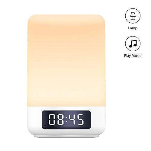 Yuanguo Nachttischlampe Touch Bedienung Bluetooth Lautsprecher Digitaler Wecker Uhr Touch Sensor Tischlampe mit Nachtlicht Stimmungslicht Aufwachlicht Warme verstellbare Farbwechselnde LED Lichter, unterstützt SD Karte Aux Anschluss handfreie Anrufe, Schlafzimmer lessen und Camping