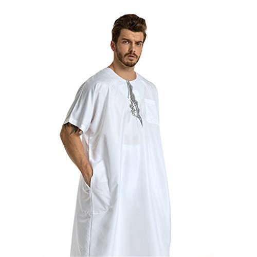 friendGG Herren Ethnische Roben Kurzarm Islamischer Mittlerer Osten Maxikleid Kaftan Elegante LäSsige Mode Muslimische Herrenroben