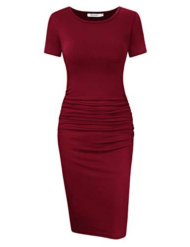 Stretch Jersey Kleid (KOJOOIN Damen Etuikleider Business Kleid Bodycon Midi Kleid Rundhals Bleistiftkleid)
