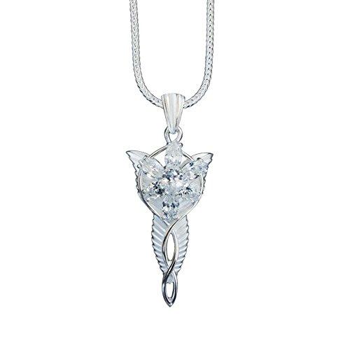 Großer Arwens Abendstern echtes Silber 925/- aus Herr der Ringe - inkl. 50cm Fuchsschwanzkette aus Silber 925/- - Große Schmuck