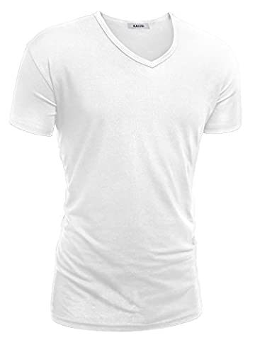 KAIUSI Herren Slim Fit Kurzarm Basic V-Ausschnitt Tee Noos T-Shirt Weiss M