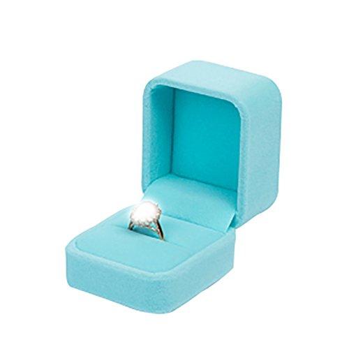 Leisial scatolina per anelli, scatola regalo porta gioielli, per confezionare gioielli per natale, fidanzamento, proposte di matrimonio, panno, blue, 6.2*5.2*4.8cm