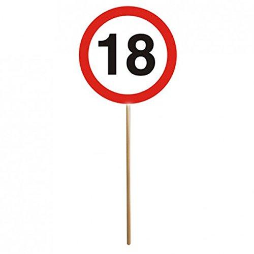 Lot de 12 panneaux 18ème anniversaire Mini panneaux de signalisation avec baguette Décoration