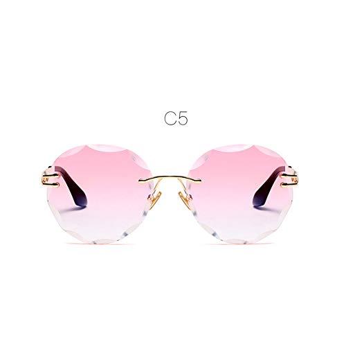 LLISA Randlose Sonnenbrille für Frauen Gradient Cutting Randlose Sonnenbrille Frau Sonnenbrille Frames Clear Lens Sun Glasses,C5