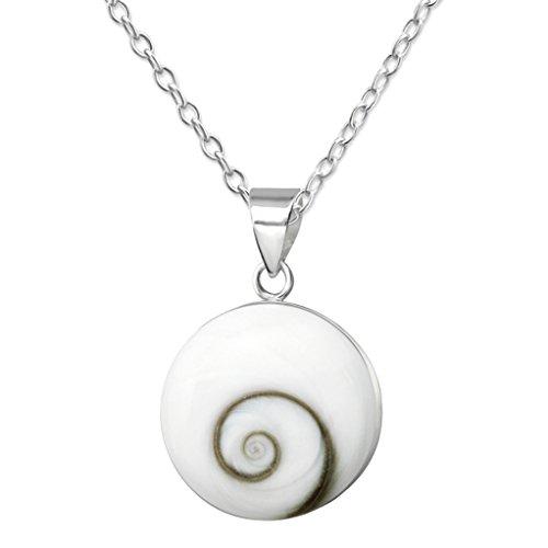 EYS JEWELRY Damenkette 45 cm mit runden Anhänger 925 Sterling Silber Shiva-Auge 19 x 15 mm weiß Muschel-Kette im Geschenk-Etui Spirale