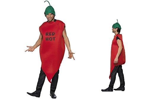 Erwachsene Chilli Pepper Red Hot Fancy Kleid Kostüm Hirsch Do Hirsch Party Body und Mütze