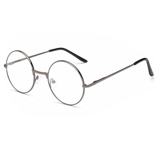 Dekobrille Fein Metallrahmen Nerdbrille Dekogl?ser Klassisches Rund Rahmen Glasses (Rund, Grau)