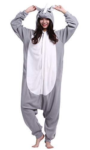 DATO Pyjama Tier Onesies Grau Nashorn Erwachsene Kigurumi Unisex Cospaly Nachtwäsche für Hohe 140-187CM (Für Erwachsene Nashorn Kostüm)