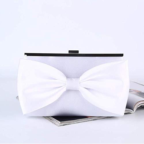 ZYXB Satin Silk Box Bag Elegante Bowknot Clutch Bag Frauen Literarische Handtasche Weibliche Kette Weiße Partei Clutch Geldbörse Umhängetaschen -