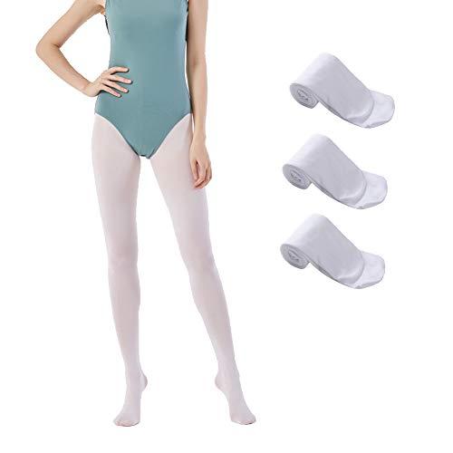 MANZI 3 Paare Damen Mädchen Strumpfhose Ballett Tanz Strumpfhosen mit Fuß 40 Den,Weiß,Small -