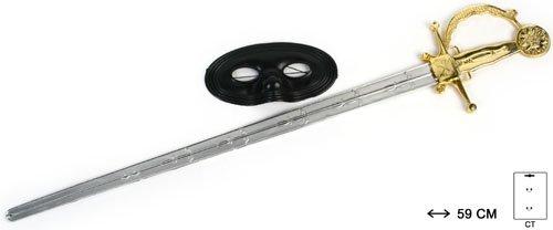 Degen Schwert 60cm Musketier Säbel mit Maske Zorro Kostüm Set für Kinder ab 3 bis 12 Jahren mega langer