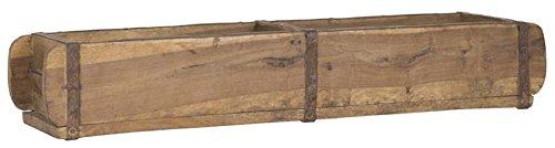 Alte Ziegelform 57x15x9,5 cm - Zweikammer - Vintage Holzkiste mit Metallbeschlägen - Echte, benutzte Form aus Indien aus Altholz gefertigt - Jedes Stück ein Unikat