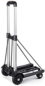 Folding Hand Truck, 4-Wheel Solid Construction Utility Cart with Noiseless Wear-Resistant for Luggage, Persona