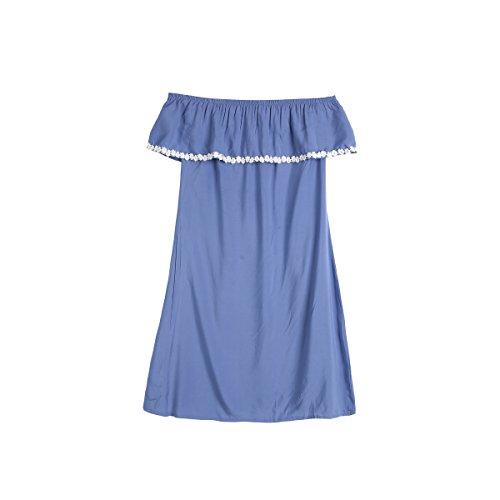 WangsCanis Parent Enfant Robe Bleu Simple Maman et Fille Robe Casual Vêtements de Famille (Femme, L)