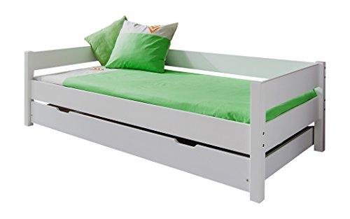 Relita EB3051117-B90+KB1341117 Einzelbett Nik mit Bettkasten, Maße 208 x 62,5 x 100 cm / 190, Liegefläche 90 x 200 cm, Buche massiv weiß lackiert