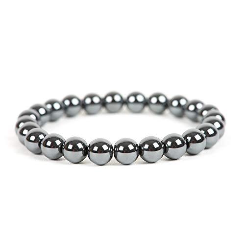 Bracelet boule en Hématite 8mm- Pierre Naturelle - Lithothérapie Reiki - Anti-Stress