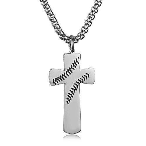 YDMSGSB Anhänger Halskette Titan Stahl Baseball Kreuz Schrift Doppelseitige Paar Geschenk Schmuck -
