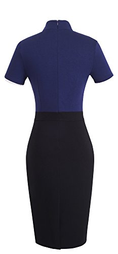 HOMEYEE Women's Vintage Stand Collar Short Sleeve Bodycon Business Pencil Dress B430 (UK 12 = Size L, Dark Blue)