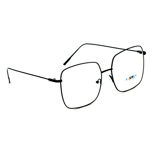 Isurf eyewear occhiali da vista a lente neutra riposante marca modello beverly quadrato donna 2018 (nero lente neutra)