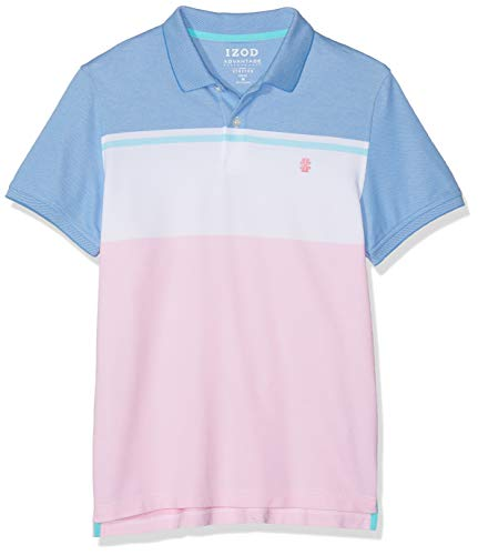 Izod Herren Poloshirt Performance Colorblock Polo Rosa (Candy Pink 660), Large (Herstellergröße: LG) -