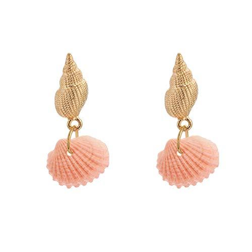 jieGREAT ❄ Damenschmuck ❄ ,Frauen Mode Trend Farbe Shell Ohrringe Legierung Conch Ohrringe Schmuck