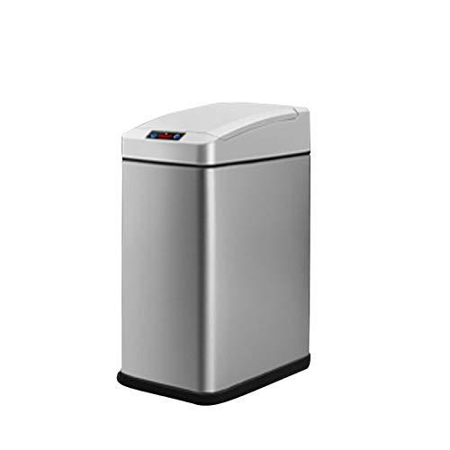 Xu Yuan Jia-Shop Secchi per la spazzatura Pattumiera di induzione Automatica Household Soggiorno Elettrico Intelligente Camera da Letto Bagno 7L Cestino (Color : Silver)