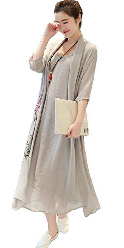 Femmes Mode chinoise à manches longues Impression Fake 2pcs en coton lin robe longue Gris