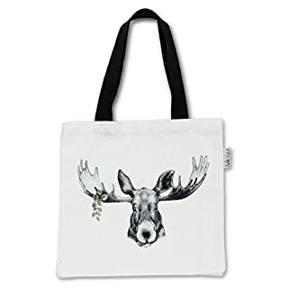 Abbott Collection Forest Prince Moose Tote Bag-15x16 l, Cotton, White and Black