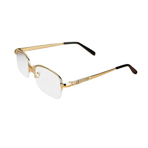 Halbrand-HD-Kristalllinsenbrille, Lesebrille Unisex Vintage. Brille (Farbe : Gelb, Size : +1.50)