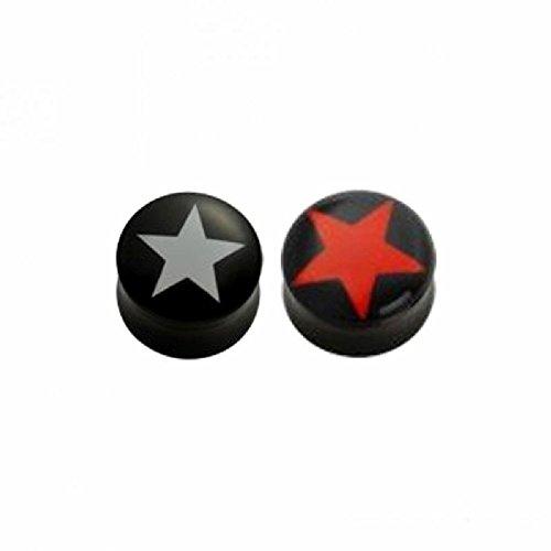 Plug–Plug–Concave–Étoile (Piercing pour oreille en acrylique pour lobe d'oreille lobes tubes) 5 mm | RD - Red Star / Red Star