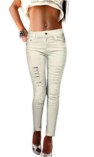 Pantaloni jeans da donna strappati stretti in nero bianco elasticizzato usato, dimensione:46, colore:bianco