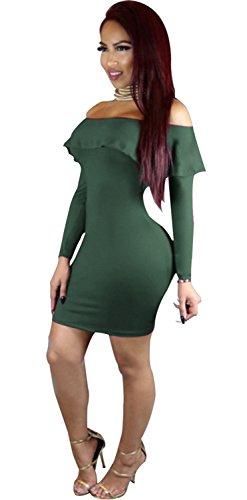 a Maniche Lunghe Spalle Scoperte Fondo a volant Mini Bodycon Aderente Fasciante Popover Vestito Abito Esercito verde