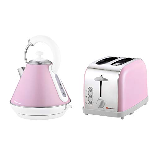 Wasserkocher und Toaster-Set, Edelstahl - Rosa