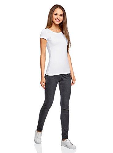 oodji Ultra Donna T-Shirt Basic Aderente Senza Etichetta (Pacco di 2) Bianco (1000N)