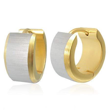 DOŠ Diamonds® Runde Stahlohrringe aus 316L, Silberfarbe, goldene Farbe, 316L Chirurgenstahl, matt geschliffenes Finish, seidenmatt (Dos-farben)
