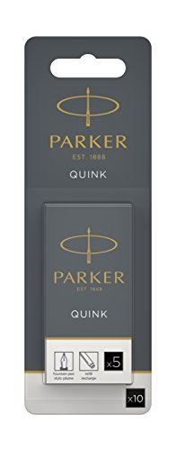 Parker Quink ricariche per penne stilografiche, cartucce lunghe, inchiostro nero, confezione da 10