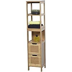 Tendance - 9901195 - Colonne Meuble de salle de bain - 3 étagères et 2 tiroirs - Style exotique - en BAMBOU