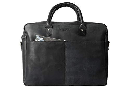 HOLZRICHTER Berlin - Briefcase (M) Premium Aktentasche aus Leder - Handgefertigte Große Laptoptasche - Ledertasche für Herren und Damen - schwarz-anthrazit