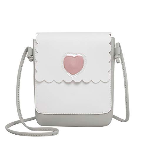 Damen Handtasche Crossbody Einfache Cartoon Herzform Square Bag Schulter Messenger Bag Schultertasche Kosmetiktasche(Grau,Einheitsgröße) - Zeigen Satchel Bag