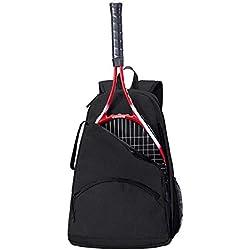 Mochila de Tenis, Bolsa de Soporte de Raqueta de Tenis, 36L Bolsa de Equipo de Tenis/Racque/Squash para Hombres, Mujeres y Adolescentes HGJ1126 (Negro)