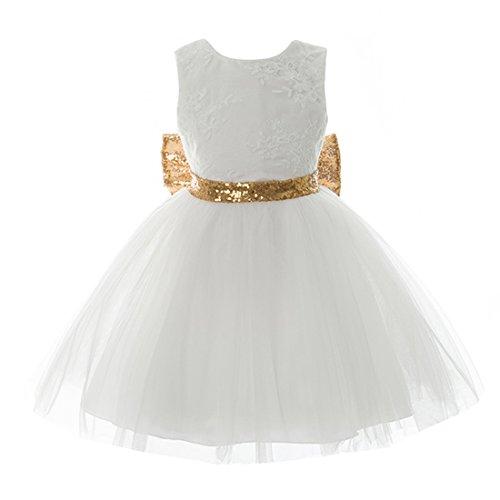 Inlefen Mädchen Bowknot Spitze Prinzessin Rock Sommer Pailletten Kleider für Baby Kleinkinder Kinder 0-5 Jahre alt weiß 120/4-5years (Weißes Kleid Weihnachten Kostüm)