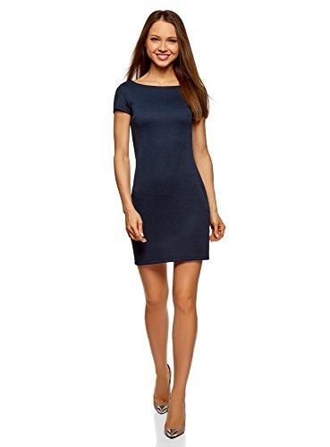 (oodji Ultra Damen Kleid aus Strukturiertem Stoff mit U-Boot-Ausschnitt, Blau, DE 38 / EU 40 / M)