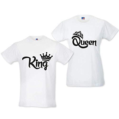 Coppia di t shirt magliette love you and me king e queen con corona bianche uomo s donna xs