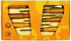 Stubai 158006 Schraubendrehers. Holzgriff kartonv. 6-Teilig, rot, Medium, 6 Stück
