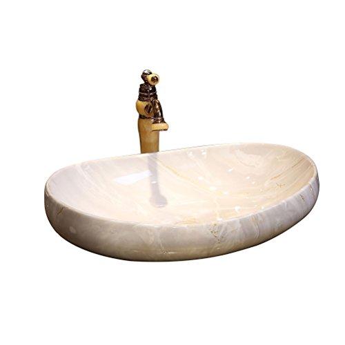 HAI Moderne Einfache Zähler Becken Europäischen Kunst Becken Oval Keramik Waschbecken Waschbecken über Zähler Becken (64x12,5x16 cm) Einbauwaschbecken