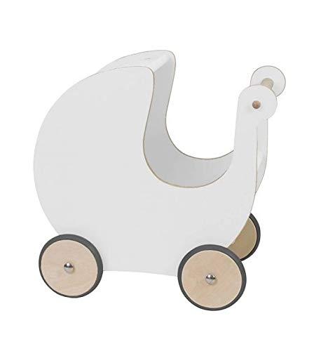 Sebra Puppenwagen aus natürlichem Holz | In Weiß, leise aufgrund gummierter Reifen, auch als Lernlaufwagen geeignet, hochwertige Verarbeitung und Lange Lebensdauer, Maße (LxBxH): 45x25x44cm