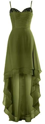 MACloth Gorgeous High Low Prom Dress Straps Wedding Party Cocktail Formal Gown Olive Green